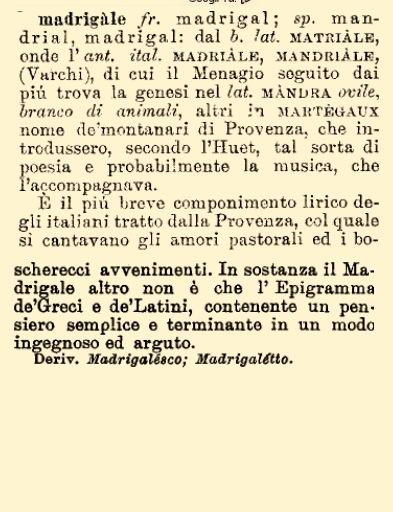 madrigale etimo
