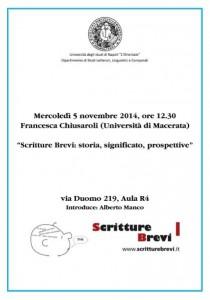 """Scritture Brevi all'Università di Napoli """"L'Orientale"""""""