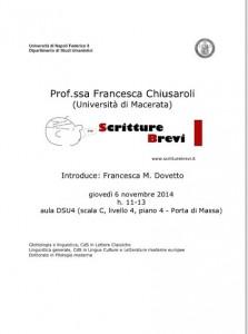 """Scritture Brevi all'Università di Napoli """"Federico II"""""""