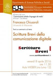 Scritture Brevi all'Università di Pavia