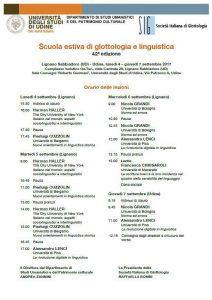 Scritture brevi alla Scuola estiva della Società Italiana di Glottologia