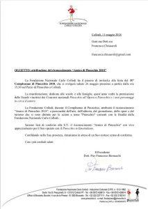 """""""Amico di Pinocchio"""" edizione 2018 Fondazione Nazionale Carlo Collodi"""