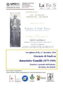 La fonetica per la scrittura: Giornate di studi su Amarinto Camilli